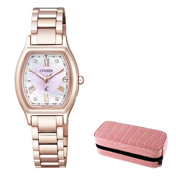(時計ケースセット)(国内正規品)(シチズン)CITIZEN 腕時計 ES9354-51W (クロスシー)xC レディース ハッピーフライト 八重桜 サクラピンク 限定モデル(チタンバンド 電波ソーラー アナログ)