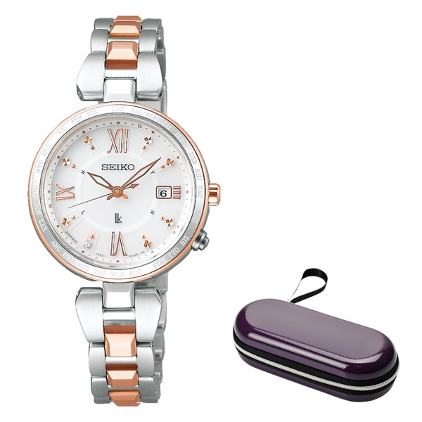 (時計ケースセット)(国内正規品)(セイコー)SEIKO 腕時計 SSQV056 (ルキア)LUKIA レディース レディダイヤ(チタンバンド 電波ソーラー アナログ)