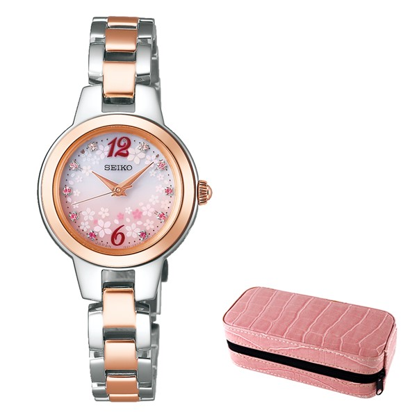 (時計ケースセット)(国内正規品)(セイコー)SEIKO 腕時計 SWFH106 セイコーセレクション レディース 2019 SAKURA Blooming 桜 限定モデル(ステンレスバンド 電波ソーラー アナログ)