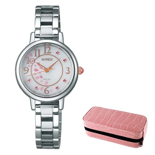 (時計ケースセット)(国内正規品)(セイコー)SEIKO 腕時計 AGED720 (ワイアードエフ)WIREDf レディース 2019 SAKURA Blooming 桜 限定モデル(ステンレスバンド ソーラー アナログ)
