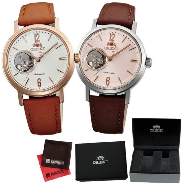 (ペア箱入り・クロスセット)(国内正規品)(オリエント)ORIENT 腕時計 WV0461DB (ホワイト)・WV0471DB (ピンク) (スタイリッシュ&スマート)STYLISH AND SMART SEMI SKELETON-C セミスケルトン(自動巻き ユニセックス アナログ 革バンド ペアウォッチ)