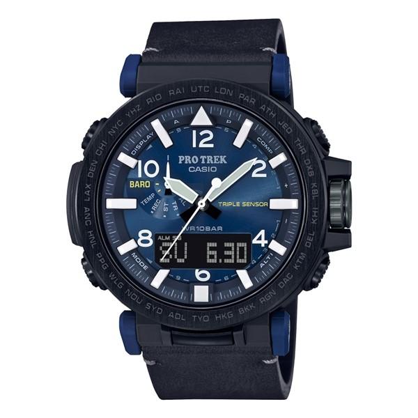 (3月新商品)(国内正規品)(カシオ)CASIO 腕時計 PRG-650YL-2JF PROTREK(プロトレック) メンズ NAVY BLUE SERIES(革バンド 電波ソーラー アナデジ)