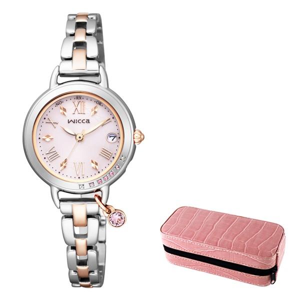 (3月新商品)(時計ケースセット)(国内正規品)(シチズン)CITIZEN 腕時計 KL0-839-91 (ウィッカ)wicca レディース ブレスライン ネット限定モデル ピンク(ステンレスバンド 電波ソーラー アナログ)