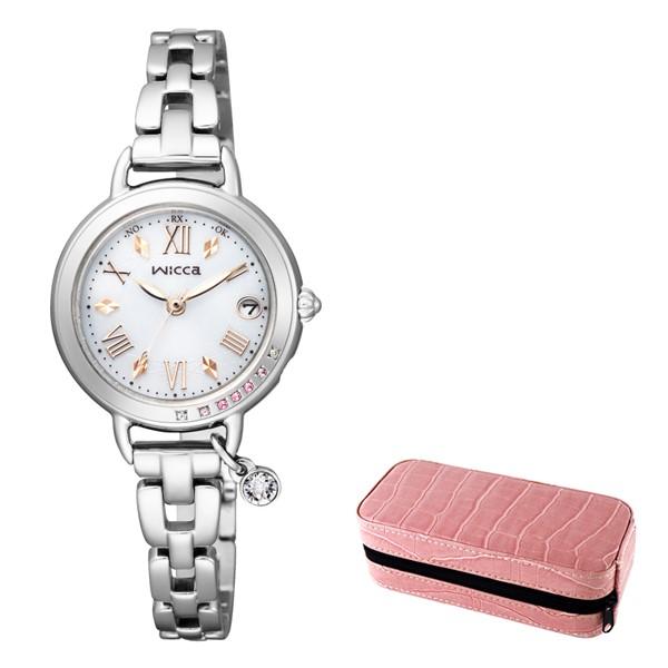 (3月新商品)(時計ケースセット)(国内正規品)(シチズン)CITIZEN 腕時計 KL0-812-11 (ウィッカ)wicca レディース ブレスライン ネット限定モデル シルバー(ステンレスバンド 電波ソーラー アナログ)
