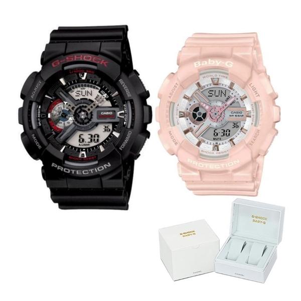 (ペア箱入りセット)(国内正規品)(カシオ)CASIO 腕時計 GA-110-1AJF メンズ・BA-110RG-4AJF レディース G-SHOCK&BABY-G(樹脂バンド クオーツ アナデジ ペアウォッチ)