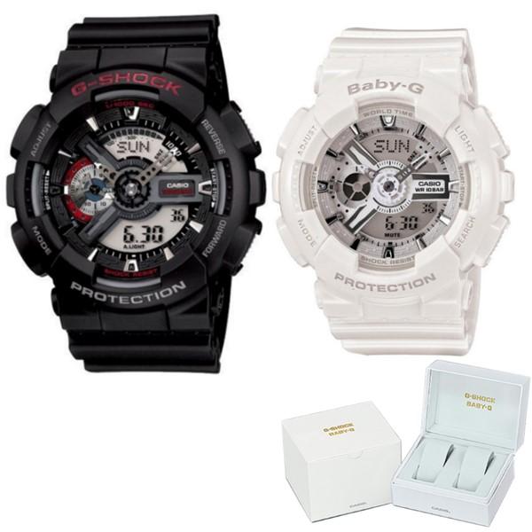 (ペア箱入りセット)(国内正規品)(カシオ)CASIO 腕時計 GA-110-1AJF メンズ・BA-110-7A3JF レディース G-SHOCK&BABY-G(樹脂バンド クオーツ アナデジ ペアウォッチ)