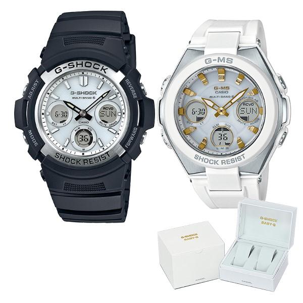 (ペア箱入りセット)(国内正規品)(カシオ)CASIO 腕時計 AWG-M100S-7AJF メンズ・MSG-W100-7A2JF レディース G-SHOCK&BABY-G(樹脂バンド 電波ソーラー アナデジ ペアウォッチ)