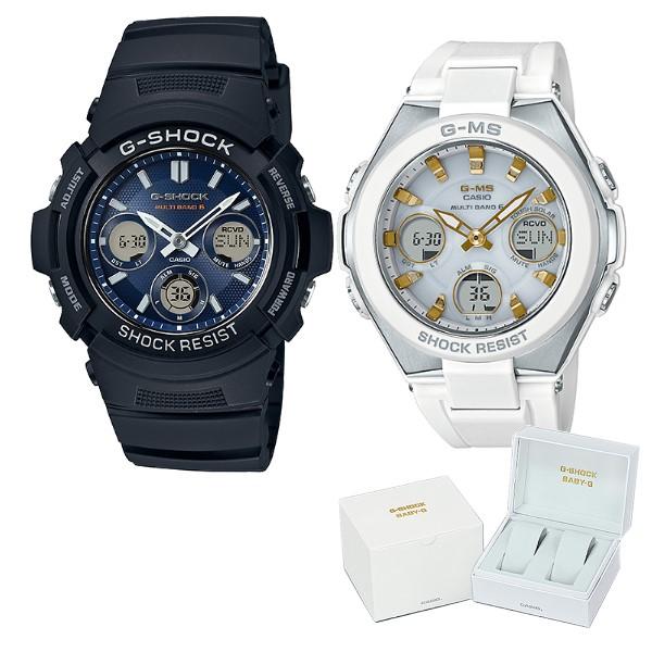 (ペア箱入りセット)(国内正規品)(カシオ)CASIO 腕時計 AWG-M100SB-2AJF メンズ・MSG-W100-7A2JF レディース G-SHOCK&BABY-G(樹脂バンド 電波ソーラー アナデジ ペアウォッチ)