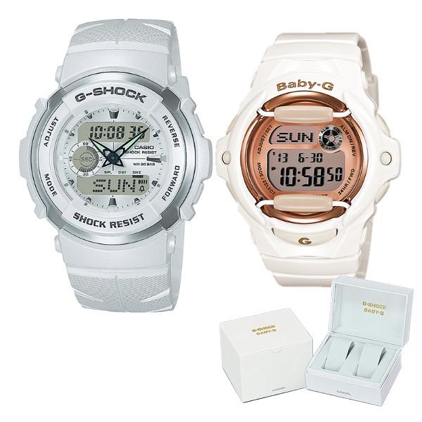 (ペア箱入りセット)(国内正規品)(カシオ)CASIO 腕時計 G-300LV-7AJF メンズ・BG-169G-7JF レディース G-SHOCK&BABY-G(樹脂バンド クオーツ ペアウォッチ)