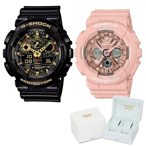 (ペア箱入りセット)(国内正規品)(カシオ)CASIO 腕時計 GA-100CF-1A9JF メンズ・BA-130-4AJF レディース G-SHOCK&BABY-G(樹脂バンド クオーツ アナデジ ペアウォッチ)