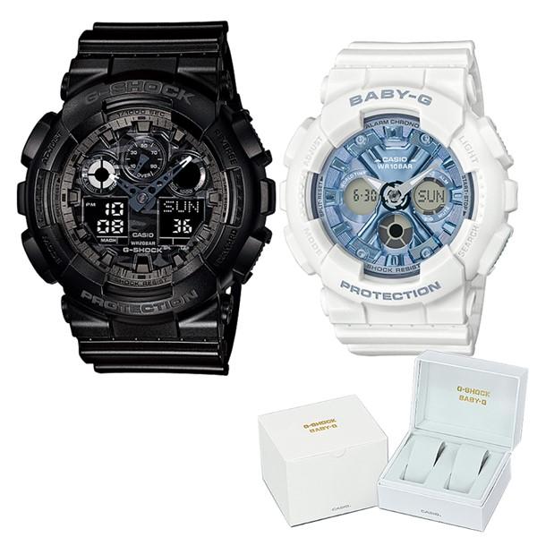 (ペア箱入りセット)(国内正規品)(カシオ)CASIO 腕時計 GA-100CF-1AJF メンズ・BA-130-7A2JF レディース G-SHOCK&BABY-G(樹脂バンド クオーツ アナデジ ペアウォッチ)