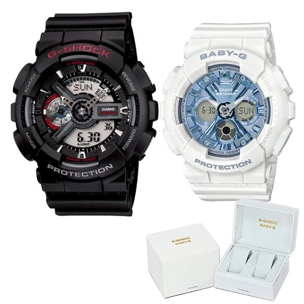 (ペア箱入りセット)(国内正規品)(カシオ)CASIO 腕時計 GA-110-1AJF メンズ・BA-130-7A2JF レディース G-SHOCK&BABY-G(樹脂バンド クオーツ アナデジ ペアウォッチ)