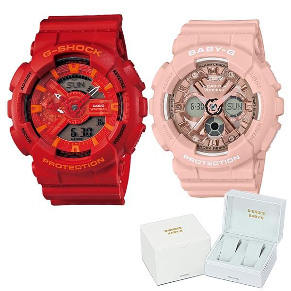 (ペア箱入りセット)(国内正規品)(カシオ)CASIO 腕時計 GA-110AC-4AJF メンズ・BA-130-4AJF レディース G-SHOCK&BABY-G(樹脂バンド クオーツ アナデジ ペアウォッチ)