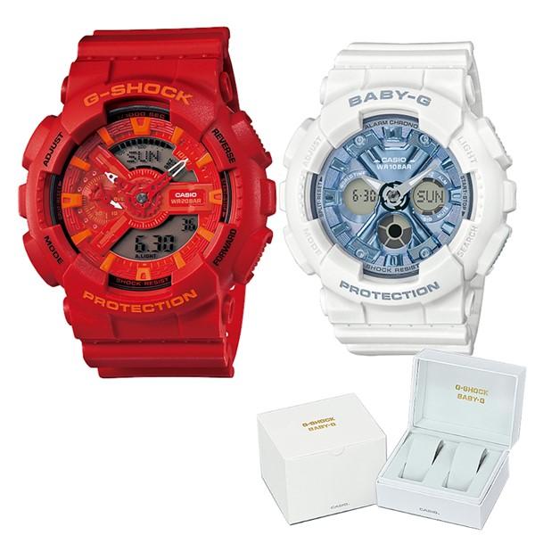 (ペア箱入りセット)(国内正規品)(カシオ)CASIO 腕時計 GA-110AC-4AJF メンズ・BA-130-7A2JF レディース G-SHOCK&BABY-G(樹脂バンド クオーツ アナデジ ペアウォッチ)