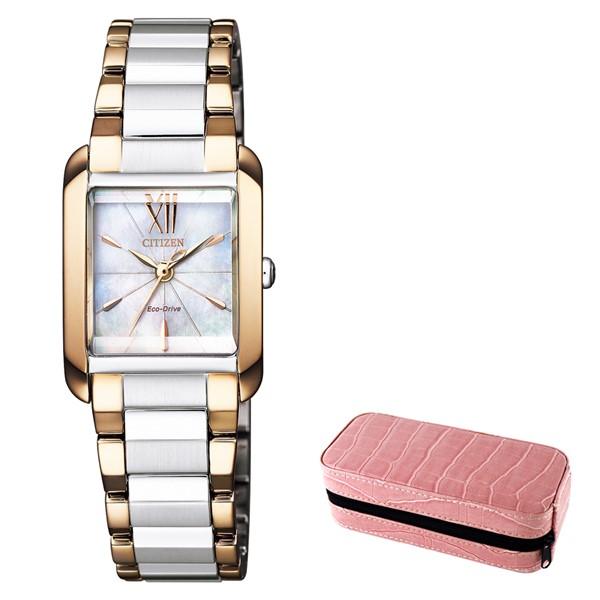 (時計ケースセット)(国内正規品)(シチズン)CITIZEN 腕時計 EW5559-89D L(エル) レディース スクエアケース(ステンレスバンド ソーラー アナログ)