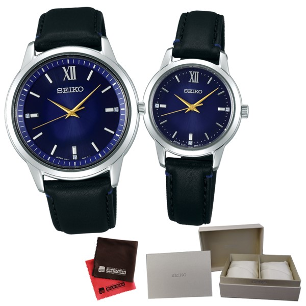 (専用ペア箱入り・クロスセット)(国内正規品)(セイコー)SEIKO 腕時計 SBPL027・STPX077 セイコーセレクション ペア 2019 エターナルブルー 限定モデル(牛革バンド ソーラー アナログ ペアウォッチ)