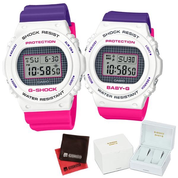 (11月新商品)(専用ペア箱入り・クロスセット)(国内正規品)(カシオ)CASIO 腕時計 DW-5700THB-7JF・BGD-570THB-7JF G-SHOCK&BABY-G ペアウォッチ Throwback 1990s(樹脂バンド クオーツ デジタル)