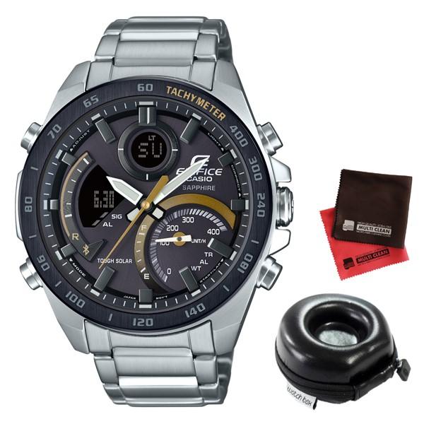 (11月新商品)(時計ケース丸型・クロスセット)(国内正規品)(カシオ)CASIO 腕時計 ECB-900YDB-1CJF (エディフィス)EDIFICE メンズ Bluetooth搭載(ステンレスバンド ソーラー アナデジ)