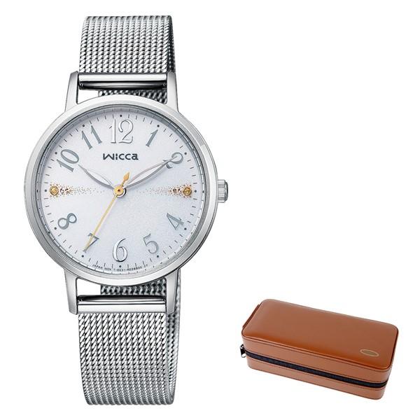 (時計ケースセット)(シチズン)CITIZEN 腕時計 KP5-115-11 (ウィッカ)wicca レディース メッシュベルト シルバー ステンレスバンド ソーラー アナログ(国内正規品)
