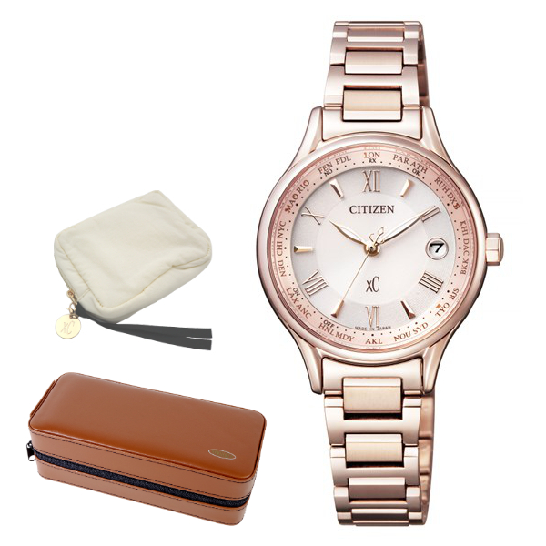 ※xCポーチ付 (時計ケースセット) (国内正規品) (シチズン) CITIZEN 腕時計 EC1164-53W (クロスシー)xC レディース ティタニアライン ハッピーフライト サクラピンク(チタンバンド 電波ソーラー アナログ)