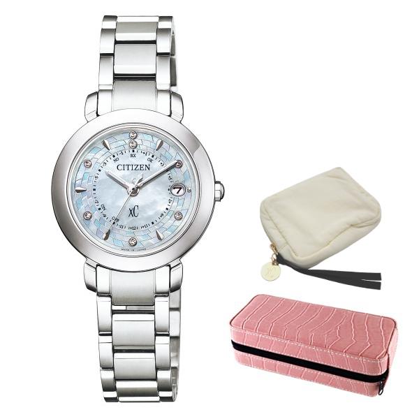 ※xCポーチ付 (時計ケースセット) (シチズン) CITIZEN 腕時計 ES9440-51W (クロスシー)xC レディース ハッピーフライト 限定モデル(チタンバンド 電波ソーラー アナログ)(国内正規品)
