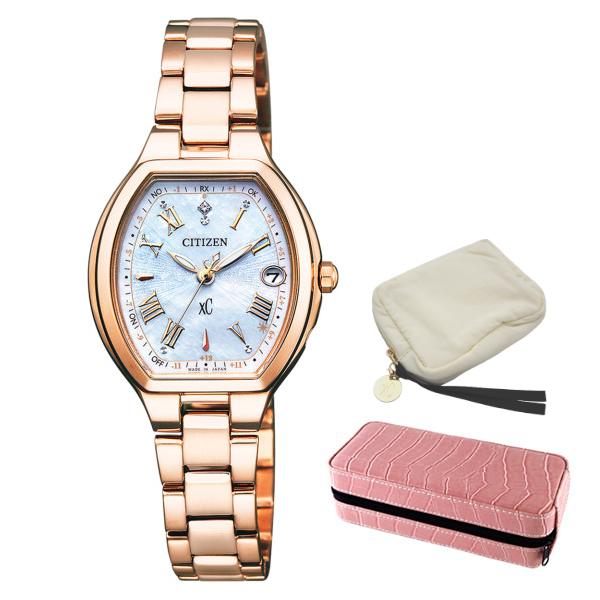 ※xCポーチ付 (時計ケースセット) (シチズン) CITIZEN 腕時計 ES9362-52X (クロスシー)xC レディース エコドライブ ハッピーフライト 限定モデル ステンレスバンド 電波ソーラー アナログ(国内正規品)