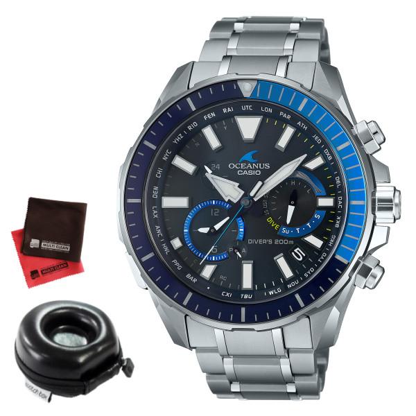(時計ケース丸型・クロスセット)(カシオ)CASIO 腕時計 OCW-P2000-1AJF (オシアナス)OCEANUS CACHALOT カシャロ メンズ ダイバーズ Bluetooth搭載 チタンバンド 電波ソーラー 多針アナログ(国内正規品)