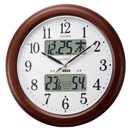 リズム時計 CITIZEN(シチズン)高精度温湿度計付(LCD表示)電波掛時計インフォームナビEX 4FY620-006