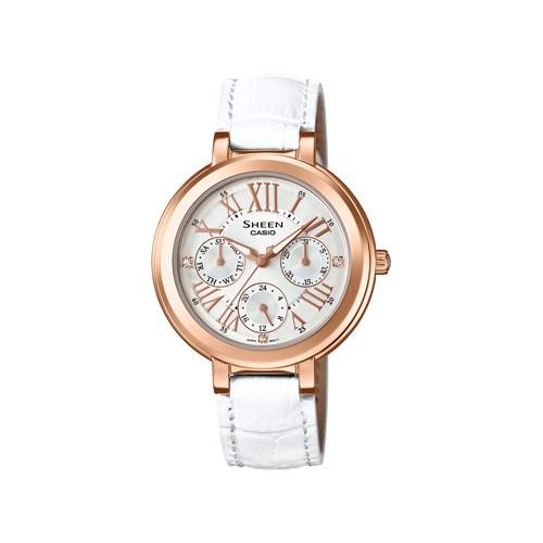 【国内正規品】CASIO(カシオ) 【腕時計】 SHE-3034GLJ-7AJF SHEEN[シーン]【限定モデル】【レディース 多針アナログ表示 クオーツ 革バンド】[SHE3034GLJ7AJF]