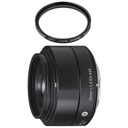 (レンズ保護フィルター付) シグマ 30mm F2.8 DN マイクロフォーサーズ用 ブラック