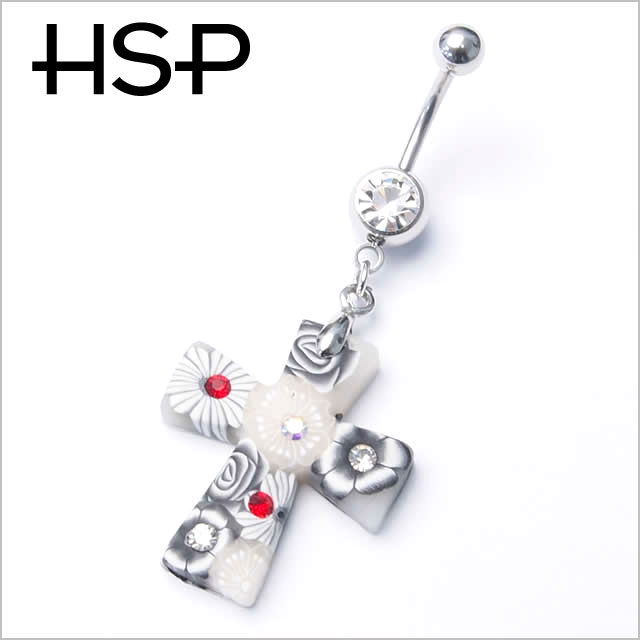 Body Piercing 14 G Murano Style Cross Banana Barbell Belly Button Piercing Ear Piercing Body Piercing 316 L Surgical Stainless Steel Body Piercing He