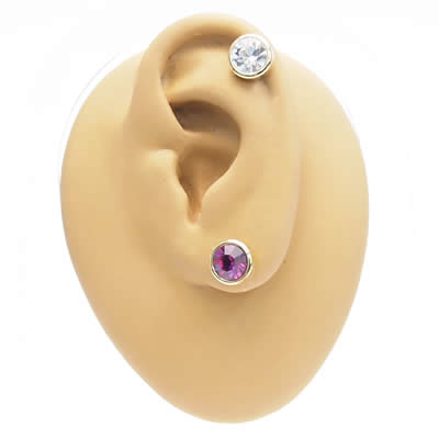 7 mm Swarovski jewel Gold Titanium earrings (sold 1) auktn