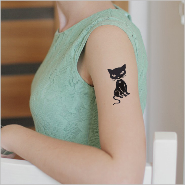 f3f057b44 ... Tattoo sticker black cat 2 tattoo Sir Christmas gift boyfriend she ...