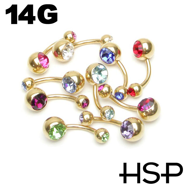 811f9b798 Body piercing 14 G gold coating double jewel belly button piercing ear  piercing body piercing 316 ...