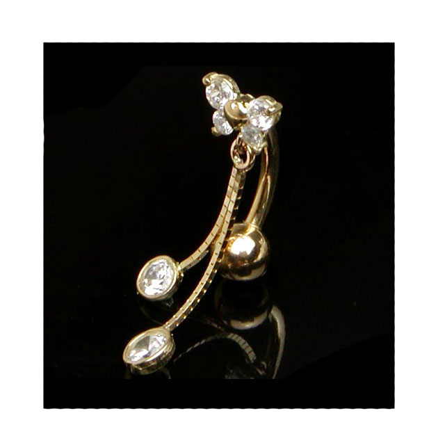 14g 14k Top Down Butterfly Banana Barbell Body Piercing へそ Pierced Earrings Ear Pierced Earrings 14 Karat Gold Navel Pierced Earrings Lady S Men