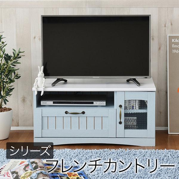 フレンチカントリー家具 テレビ台 幅80 フレンチスタイル ブルー&ホワイト 白 FFC-0001 送料無料 JK