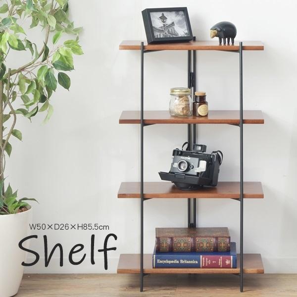 ブラックスチールと天然木の板を組み合わせた スッキリとしたデザイン 訳あり商品 シェルフ オープンラック ディスプレイ ラック 棚 木製 予約販売 収納 AZ592 GT-111