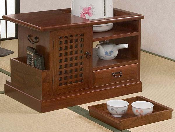 和室によく合う 桐ポットワゴントレー付き SA594 送料無料