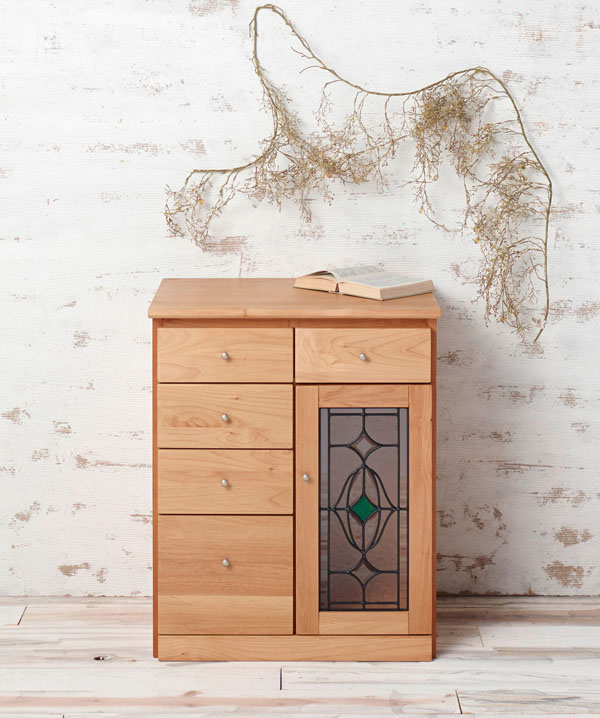 57cm幅 キャビネット 木製 完成品 天然木 アルダー材 オイル仕上げ 送料無料