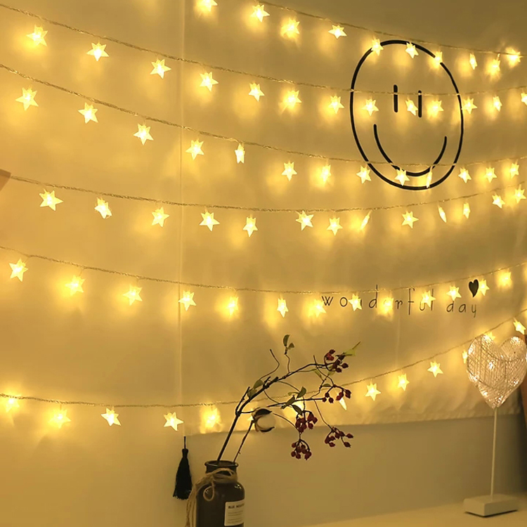 パーティー クリスマス ハロウィン 結婚式の余興 誕生日 コンサート イベント ファクトリーアウトレット 庭 広場 街路樹などの装飾も大活躍です LEDストリングライト 星型装飾 防水 室外 ライト 正月 飾り 雑貨送料無料 3M 電飾インテリア 20球 2020A/W新作送料無料 結婚式 バレンタインデー イルミネーションライト電池式 お庭など対応 装飾