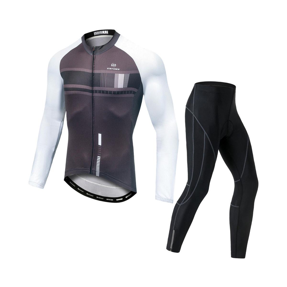 サイクルジャージ サイクルウェア メンズ 薄手長袖 上下セット サイクルパンツ ゲルパット 上等 男性用 自転車 速乾 吸汗 メーカー在庫限り品