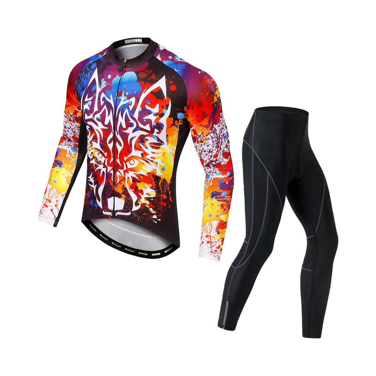サイクルジャージ サイクルウェア メンズ 薄手長袖 日本全国 送料無料 上下セット サイクルパンツ ゲルパット 速乾 吸汗 お得なキャンペーンを実施中 男性用 自転車
