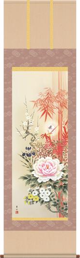掛け軸 四季花吉祥競艶図 緒方葉水 尺三 桐箱 床の間に開運掛軸縁起画掛軸をどうぞ モダンに掛物をつるす