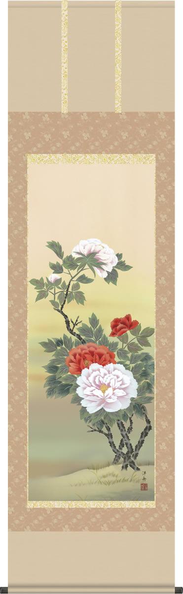 掛け軸-富貴花/小野洋舟(尺五 桐箱)花鳥画掛軸 [送料無料]