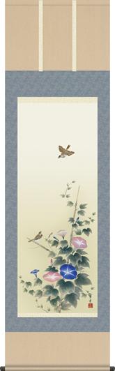 掛け軸-朝顔/茂木 蒼雲(尺五・床の間に夏用花鳥画掛軸をどうぞ) [送料無料]