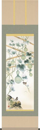 掛け軸-六瓢/井川 洋光(尺五・床の間に夏用花鳥画掛軸をどうぞ) [送料無料]