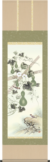 掛け軸-六瓢/北山歩生(尺五)花鳥画掛軸・送料無料掛け軸