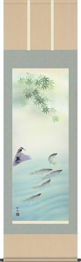 掛け軸-四季花鳥(夏)/田村 竹世(尺五・床の間に夏用掛軸花鳥画掛軸をどうぞ) [送料無料]