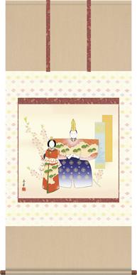 掛け軸-立雛/野川 秀華(幅広タイプ尺八横・床の間に桃の節句画掛軸華やかな掛軸をどうぞ)
