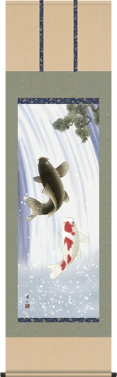 掛け軸-夫婦滝昇鯉/榎本東山(尺五・桐箱)床の間に男児大成の願いを込めて飾る端午の節句画掛軸、初節句のお祝い掛軸としてもどうぞ、送料無料、伝統の床の間飾り、男の子誕生祝、出産祝い